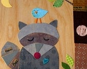 Large Collage - Raccoon and Bluebird  - eco-friendly - by Maple Shade Kids