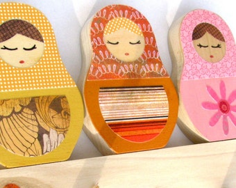 Matryoshka Peg Rack, Yellow, Orange, Pink - eco-friendly by Maple Shade Kids