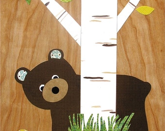 Brown Bear Peeking Collage - eco-friendly - by Maple Shade Kids