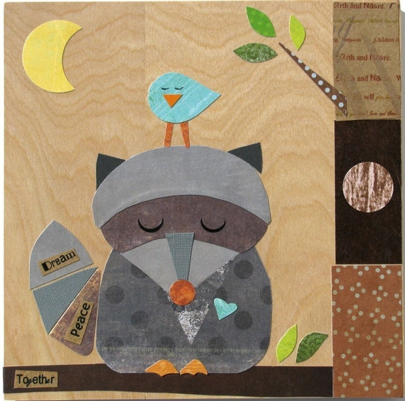 Raccoon and Bluebird Friend Collage - eco-friendly - by Maple Shade Kids