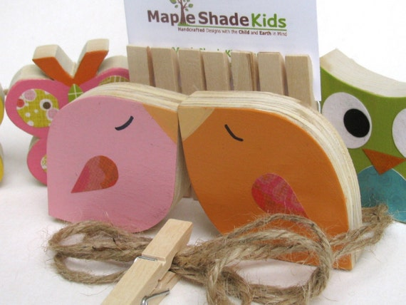 Bird Art Clips - Pink and Orange - eco-friendly  by Maple Shade Kids
