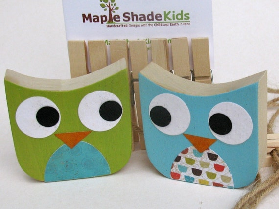 Owl Art Clips -eco-friendly - by Maple Shade Kids