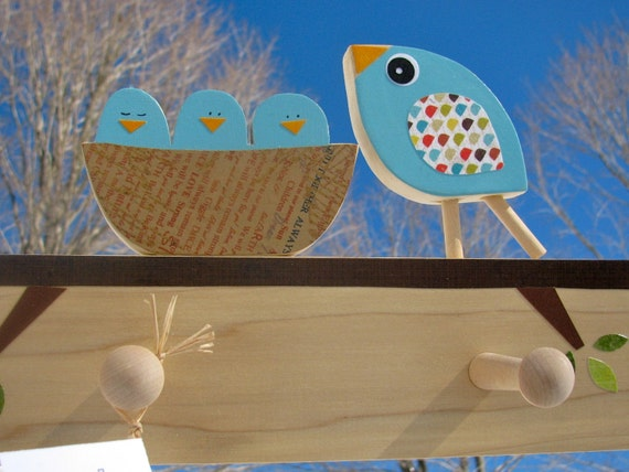 Mother Bird and Nest Peg Rack- eco-friendly by Maple Shade Kids