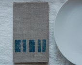block napkin pair - natural with blue