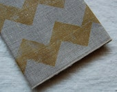 chevron napkin pair - natural/metallic gold