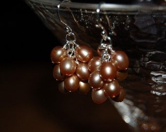 Champagne Freshwater Pearl Cluster Earrings