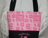 Pink Embroidered Carolina Gamecocks Tote Bag Purse