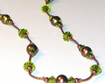 Cocoa and Lime Knotted Necklace