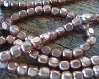 SQUARES OF COPPER  5 mm African Beads