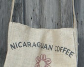 Coffee Bean Burlap Sack Upcycled Messenger Bag