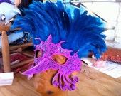 Mardi Gras Purple, White, and Blue Bird of paradise Leather Mask