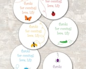 PRINT & SHIP Rainbow of Bugs Birthday Party Goodie Bag Gift Tags (set of 12) >> personalized and shipped to you <<