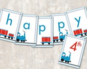"PRINT & SHIP Train Birthday Party Pennant Banner (""Happy 1st Birthday"") >> personalized and shipped to you <<"