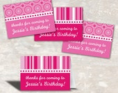 PRINT & SHIP PInk Polka Dot Birthday Party Favor Bag Toppers (set of 12)
