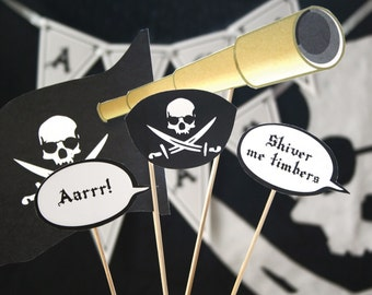 Pirate Printable PHOTO BOOTH PROPS - Editable Text >> Instant Download | Paper and Cake