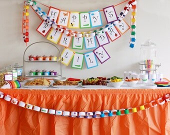 Rainbow of Bugs Birthday PRINTABLE Party Collection - You Customize EDITABLE TEXT >> Instant Download | Paper and Cake