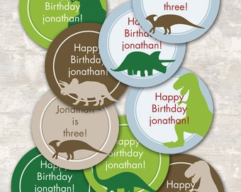PRINT & SHIP Dinosaur Dig Birthday Party Cupcake Toppers (set of 12) | Paper and Cake