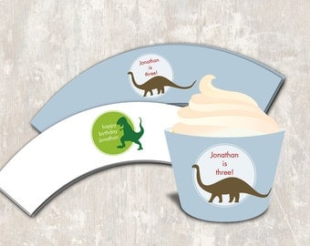 PRINT & SHIP Dinosaur Dig Birthday Party Cupcake Wraps (set of 12) >> personalized and shipped to you | Paper and Cake