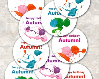 PRINT & SHIP Art Party Birthday Cupcake Toppers (set of 12) >> personalized and shipped to you <<