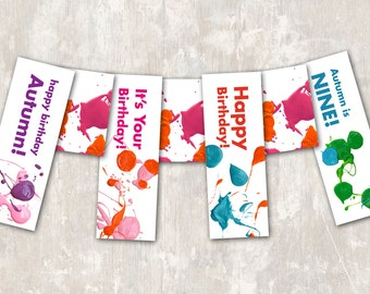 PRINT & SHIP Art Party Birthday Pennant Banner  >> personalized and shipped to you <<