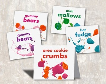 PRINT & SHIP Art Party Birthday Food Labels (set of 8) >> personalized and shipped to you | Paper and Cake