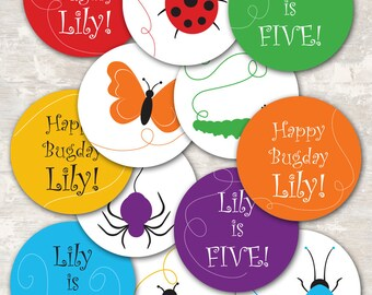 PRINT & SHIP Rainbow of Bugs Birthday Party Cupcake Toppers (set of 12) >> personalized and shipped to you | Paper and Cake