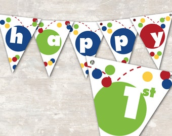 "PRINT & SHIP Bouncy Ball Birthday Party Pennant Banner (""Happy 1st Birthday"") >> personalized and shipped to you 