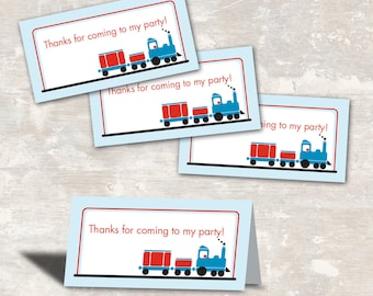 PRINT & SHIP Train Birthday Party Favor Bag Toppers (set of 12) >> personalized and shipped to you | Paper and Cake