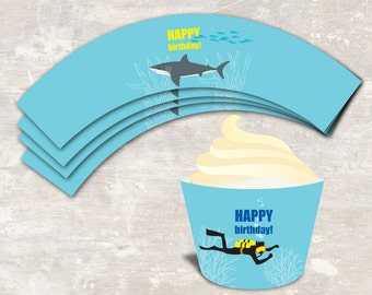 PRINT & SHIP Shark and Scuba Birthday Party Cupcake Wraps (set of 12 )>> personalized and shipped to you | Paper and Cake