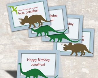 PRINT & SHIP Dinosaur Dig Birthday Party Favor Bag Toppers (set of 12) >> personalized and shipped to you | Paper and Cake
