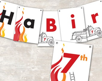 """PRINT & SHIP Fire Truck Birthday Party Pennant Banner (""""Happy 1st Birthday"""") >> personalized and shipped to you 