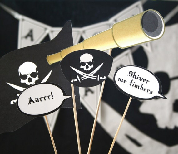Pirate Printable PHOTO BOOTH PROPS - Editable Text Instant Download