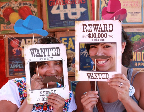 Wild West Printable PHOTO BOOTH PROPS - Editable Text >> Instant Download <<