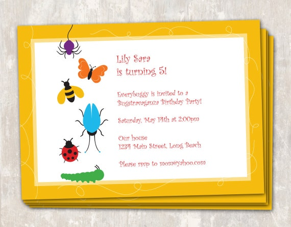 PRINT & SHIP Rainbow of Bugs Birthday Party Invitations (set of 12) >> personalized and shipped to you <<
