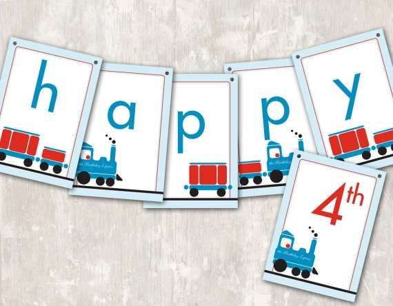 Print Amp Ship Train Birthday Party Pennant Banner Quot Happy