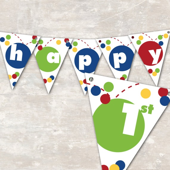"PRINT & SHIP Bouncy Ball Birthday Party Pennant Banner (""Happy 1st Birthday"") >> personalized and shipped to you << Paper and Cake"