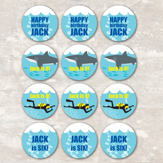 PRINT & SHIP Shark and Scuba Birthday Party Cupcake Toppers (set of 12)