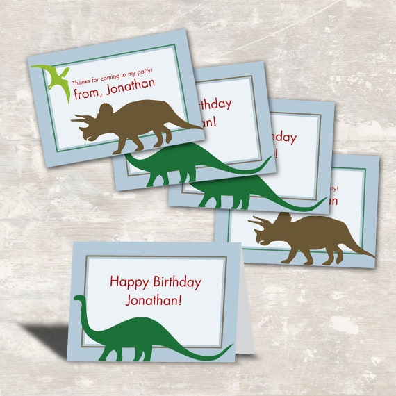 PRINT & SHIP Dinosaur Dig Birthday Party Favor Bag Toppers (set of 12) >> personalized and shipped to you <<