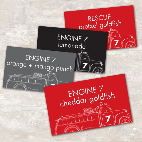 PRINT & SHIP Fire Truck Birthday Jar Labels (set of 8) >> personalized and shipped to you <<