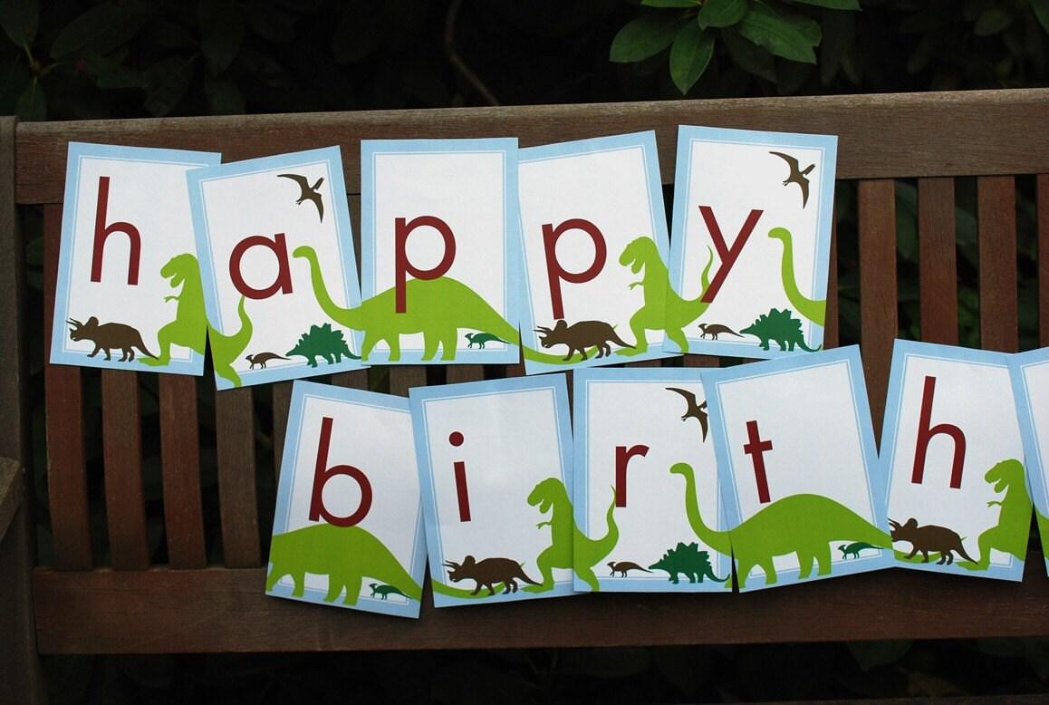 Dinosaur Birthday BANNER Customizable Printable Download PDF