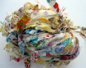 SALE 10% Off, Fine yellow flower fabric ribbon yarn, knotted