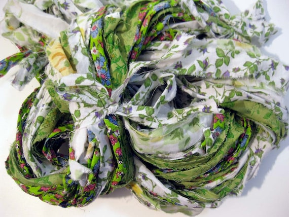 Fabric ribbon yarn, Lime Patchwork Quilt