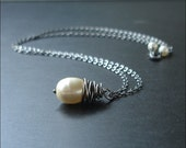 Whirlwind Necklace Handmade with Cream white vintage glass pearl and oxidized Sterling silver