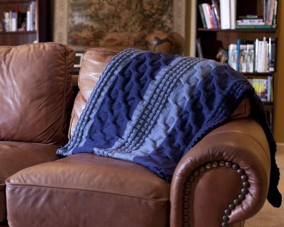 Light and dark blue blanket