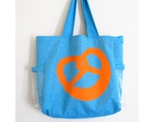 Window Shopper Tote Bag with clear plastic pockets - Blue