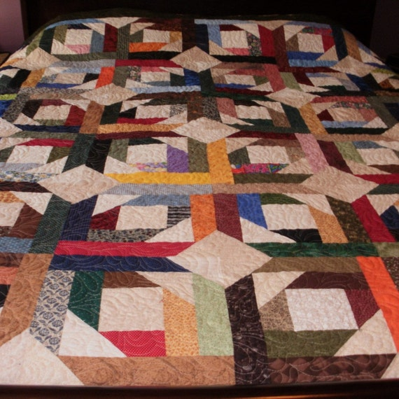 Queen Sized Bed Quilt, Pineapple Blossoms, Scrappy Quilt, Machine Quilted, Sale Priced