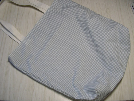 Large Tote Bag On The Go Blue & White Check Recycled Linens