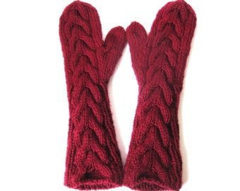 Bella Long Gloves,Elbow Length Mittens, Acrylic Blend Chunky Yarn, Hand Knit, Cranberry Red, Ready To Ship
