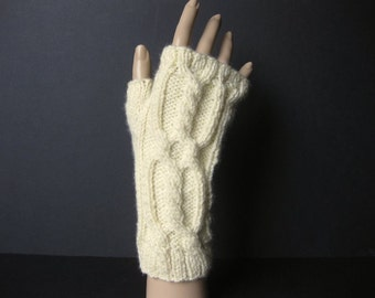 Hand Knit, Fingerless Gloves, Wrist Warmers, Worsted Weight, Acrylic Blend Yarn, Ready To Ship