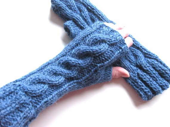 Knit cabled fingerless gloves - wrist warmers -  blue denim chunky wool - ready to ship